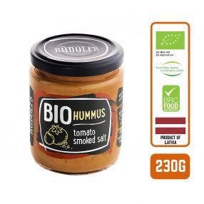 Rudolfs Organic Hummus with Tomato & Smoked Salt, 230g Carton (6 Bottles)