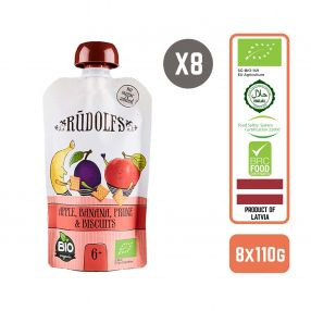 Rudolfs Organic Apple, Banana, Prune & Biscuits 6+ Months (8 pcs)