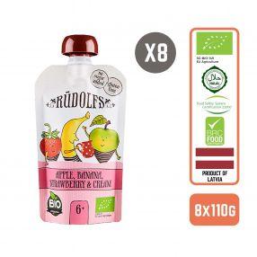 Rudolfs Organic Apple, Banana, Strawberry and Cream 6+ Months (8 pcs)