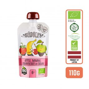Rudolfs Organic Apple, Banana, Strawberry and Cream 6+ Months