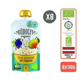 Rudolfs Baby Organic Pear Blueberry Oat Porridge 4+ Months (8 pcs)