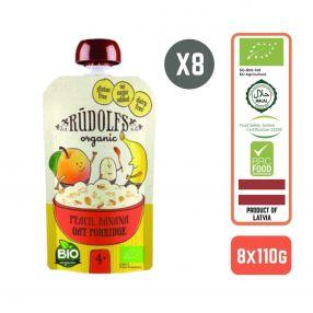 Rudolfs Baby Organic Peach Banana Oat Porridge 4+ Months (8 pcs)