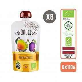 Rudolfs Organic Pear & Prune 4+ Months (8 pcs)